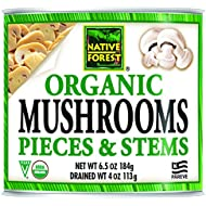 Native Forest Organic Mushrooms, Pieces & Stems, 4 Ounce Cans (Pack of 12)