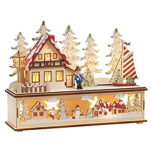 Christmas Coastal Village Bavarian Two-Tiered Illuminated Wood Landscape (Yuletide (Bavarian Village)