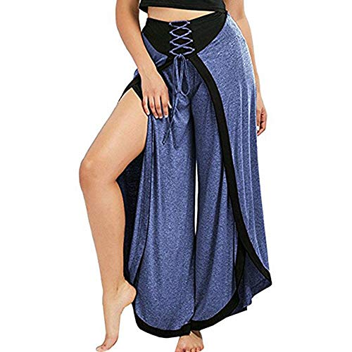 Toimothcn Women Lace Up Palazzo Pants High Split Wide Leg Yoga Pant Loose High Waist Flared Trousers(Blue,L)