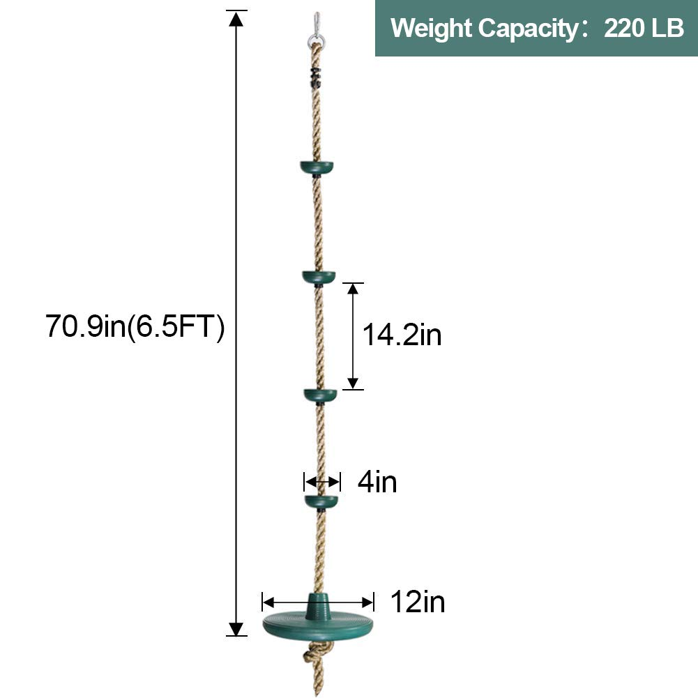 ZNCMRR Climbing Rope with Platforms and Disc Swing Seat Set Playground Accessories Including Bonus Hanging Strap /& Carabiner
