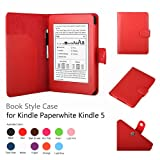Amazon Kindle Paperwhite Case Red - Slim Folio PU Leather Smart Cover Stand for Amazon All-New Kindle Paperwhite (Both 2012 and 2013 versions) with Auto Sleep Wake Feature and Stylus Holder