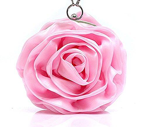 Eleoption Women Bag Flower Satin Clutch Pink Lovely Evening Handbag Yw7YrP