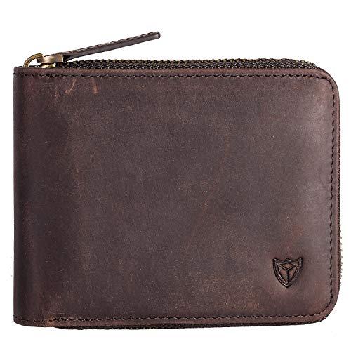 RFID Men's Leather Zipper wallet Zip Around Wallet Bifold Multi Card Holder Purse (Coffee)