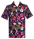Hawaiian-Shirt-37-Mens-Flamingo-Leaf-Print-Beach-Aloha-Party-Black-L