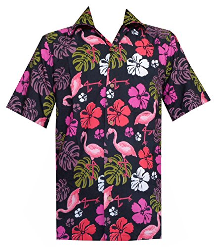 Hawaiian Shirt 37 Mens Flamingo Leaf Print Beach Aloha for sale  Delivered anywhere in USA