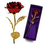 24K 10 Inch Gold Foil Rose with Giftbox, Best Valentine's Day Gift, Handcrafted and Last Forever!(Red)