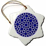3dRose orn_56724_1 Silver Stars Outline Geometric Intricate Islamic Art Pattern on Blue Snowflake Porcelain Ornament, 3-Inch