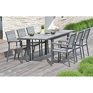 Salon de jardin - Table rallonge papillon et 6 chaises: Amazon.fr ...
