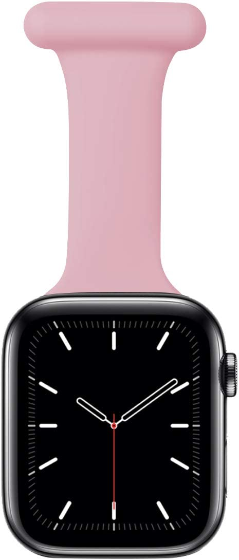 Nurse Watch Band Compatible with Apple Watch 42mm 44mm, Nurse Watch Fob with Pin-On Brooch, Soft Silicone Replacement Bands for iwatch Series 6/SE/5/4/3/2/1