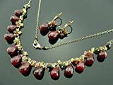 Ruby Ethiopian Opal and Watermelon Tourmaline 14k Gold Filled Gemstone Necklace and Leverback Earrings Set