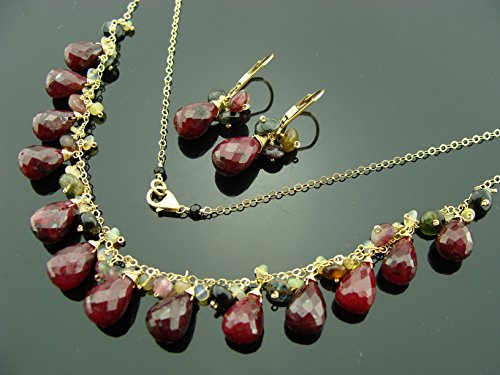 Watermelon Stone Necklace - Ruby Ethiopian Opal and Watermelon Tourmaline 14k Gold Filled Gemstone Necklace and Leverback Earrings Set