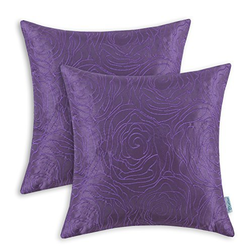 CaliTime Pack of 2 Cushion Covers Throw Pillow Cases Shells for Sofa Couch Home Decoration Roses Floral Embroidered 18 X 18 inches Purple