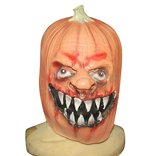 (CHICHIC Halloween Pumpkin Mask, Creepy Scary Novelty Head Mask Skull, Latex Rubber Cosplay Party Costume Decorations, Jack O Lanterns Masks Adults Party Decoration Props)