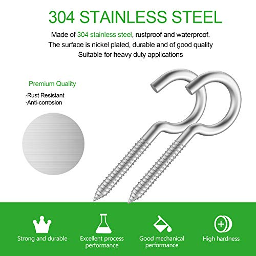 """2/""""X50PCS Ceiling Cup Hook Screw Hooks 50 Pieces of 304 Stainless Steel Kits"""