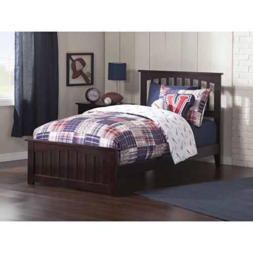 Atlantic Furniture AR8726031 Mission Twin Bed Solid Hardwood - Black Mission Headboard