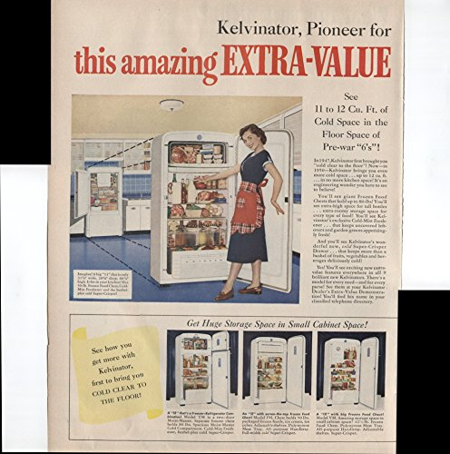Refrigerator Antique (Kelvinator Pioneer for 36 Years Now Brings You This Amazing Extra-Value Demonstration! Get The Space Get The Beauty Get The Buy Get Kelvinator Refrigerator 2 Page 1950 Vintage Antique Advertisement)