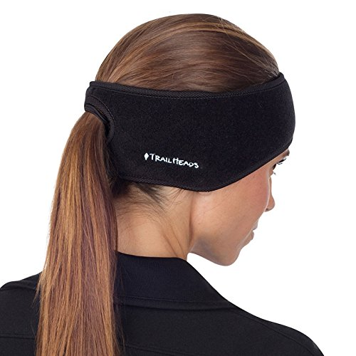 TrailHeads Women's Ponytail Headband | Fleece Earband | Winter Running Headband - black/black