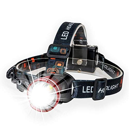 Lightess LED Headlamp Super Bright Zoomable Headlights XM-L T6 Waterproof Adjustable Head Lamp for Running Climbing Hunting Riding Camping, Red, 3 Modes, 1800lm