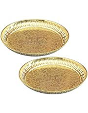 Skywalk Set of 2 Handmade Brass Puja Thali with Flower Emossed Design,Brass Pooja Plate for Home & Office Decoration & Gifting (Size-6 Inch)