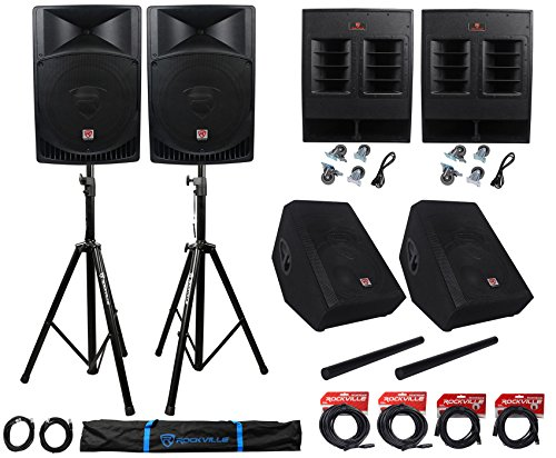 Rockville Complete Church PA System w/Speakers+Subwoofers+Monitors+Stands+Cables