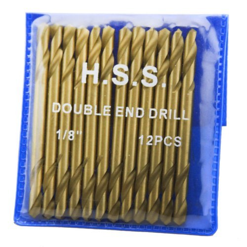 XtremepowerUS 12Pc 1/8 HSS Double End Titanium Drill Bit H.S.S DBL Head by XtremepowerUS by XtremepowerUS