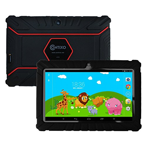HOLIDAY SPECIAL! Contixo Kids Safe 7″ Quad-Core Tablet 8GB, Bluetooth, Wi-Fi, Cameras, Free Games, HD Edition w/ Kids-Place Parental Control, Kid-Proof Case (Black) – Best Gift For Christmas