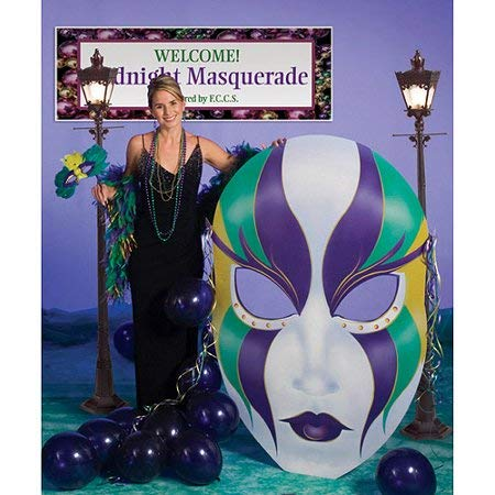 Vibrant, Eye Catching Easy Set Up and Store Great for Photo Booths, Themed Parties and Activities Mardi Gras Mask Cardboard Stand-Up - Add Life and Elegance to Any Party Or Event! ()