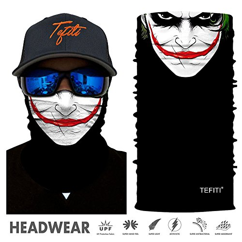 TEFITI Balaclava Face Mask, Multifunctional Headwear Neck Gaiter for Men, 3D Dust Mask Sun UV Dust Wind Proof for Outdoor Camping, Running, Motorcycling, Fishing, Hunting (Bandana Joker)
