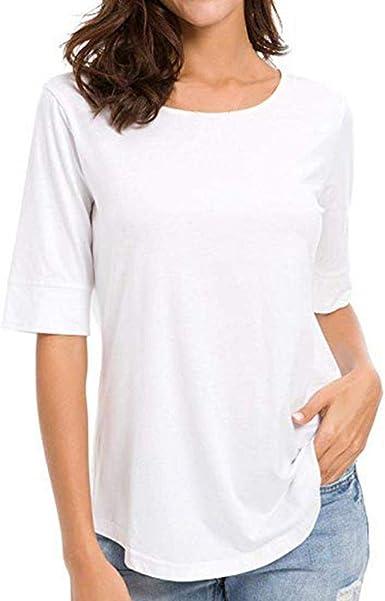 VJGOAL Mujer Media Manga Cuello Redondo Tops Casual Suelta Blusa de Color sólido Camiseta: Amazon.es: Ropa y accesorios