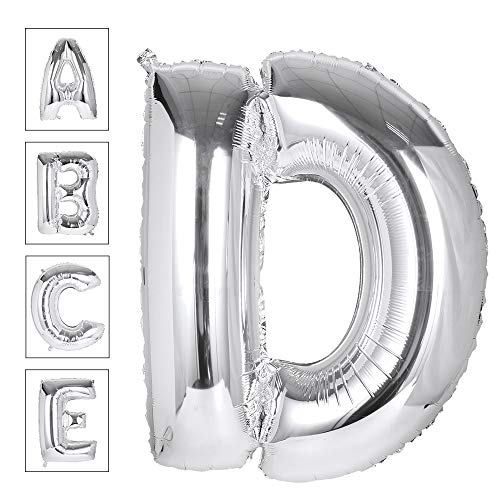 Lovne 40 Inch Jumbo Silver Alphabet D Balloon Giant Prom Balloons Helium Foil Mylar Huge Letter Balloons A to Z for Birthday Party Decorations Wedding Anniversary