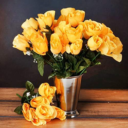 BalsaCircle 84 Yellow Silk Rose Buds - 12 Bushes - Artificial Flowers Wedding Party Centerpieces Arrangements Bouquets Supplies