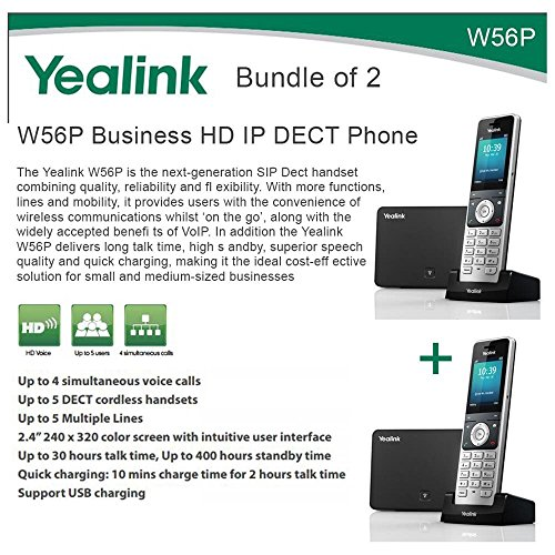 Yealink W56P Bundle of 2 Business HD IP DECT Phone and Base Unit, PoE, Voicemail by Yealink