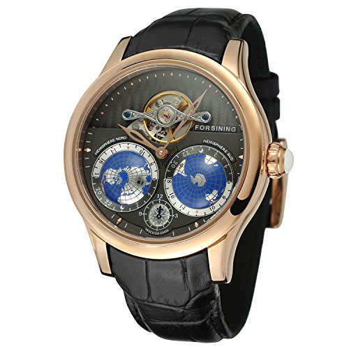 FORSINING Men's Brand Automatic Movement Stainless Steel Case World Map Dial Wrist Watch FSG9413M3R1 by FORSINING