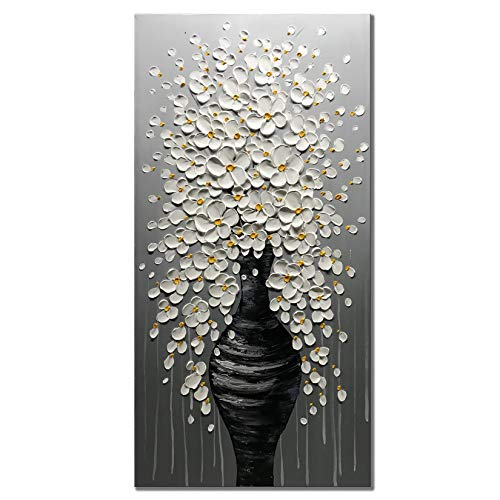 Zoinart Oil Paintings 48x24 Inch 100% Hand Painted White Flower in Black Vase 3D Abstract Decorative Large Modern Canvas for Hallway Wall Decor Framed Wall Art Ready to Hang