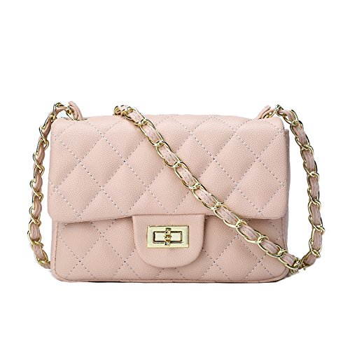 Pxudb 2018 New Style Mini Lady Lingge Gold Chain Shoulder Bag Clutch Bag Serpentine Classic Quilted Evening Bag Messenger Bag Beige
