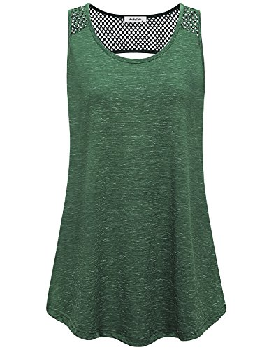 AxByCzD Yoga Tank Tops for Women,Summer Fashion 2018 Athletic Wear Exercise Walking Hiking Tennis Shirts Girls Sleeveless Scoop Neck Quick Dry Breathability Bodybuilding Gym Clothes Green X-Large