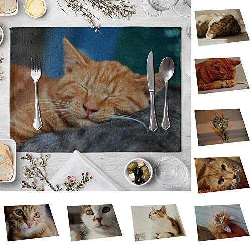 memorytime Cute 3D Cat Print Placemat Pad Linen Dining Table Insulation Mat Home Decor Kitchen Dining Supplies - 6# by memorytime (Image #2)