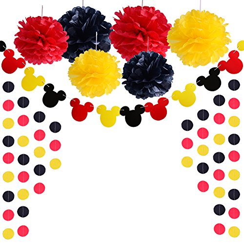 Black Mickey Mouse - Threemart Colorful Party Supplies Yellow Black Red For Mickey Mouse Baby Shower Birthday Decorations Garland