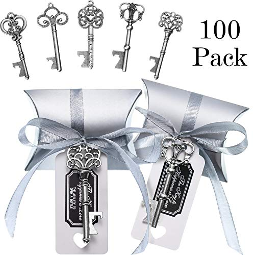 100 Sets Vintage Key Bottle Openers Wedding Favor Souvenir Gift Set Pillow Shape Candy Gift Box Escort Thanks Tag Sticker French Ribbon (Antique Silver)