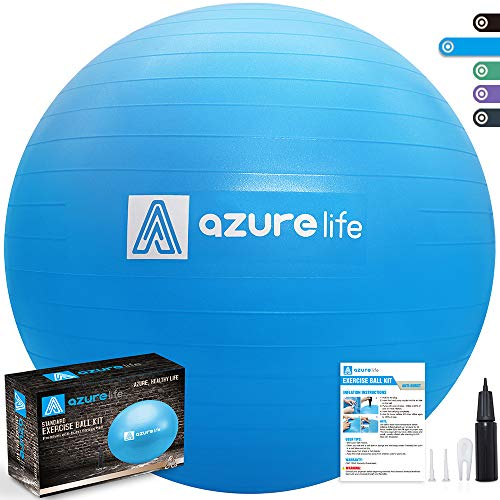 AZURE LIFE Professional Grade Exercise Ball, Anti-Burst&Non-Slip Stability Balance Ball with Quick Pump Included, Multiple Sizes&Colors, Perfect for Birthing, Yoga, Pilates, Desk Chairs&Therapy