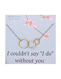 Bridesmaid Gift Necklace On Card, Two-Tone Three Interlocking Circles, For Bridesmaids, Maid of Honor