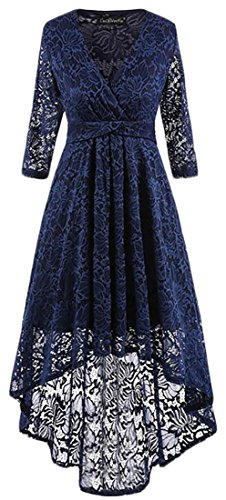 Irregular Cruiize Vintage Maxi 3 Rise Sleeve 4 Blue Dress Navy High Womens Lace Wrap rrHwqZz