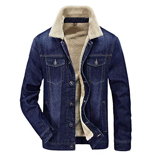 Allthemen Mens Denim Jacket Winter Thick Warm Military Cowboy Parka Coats Fleece Lined Outdoor Multi Pockets Jackets