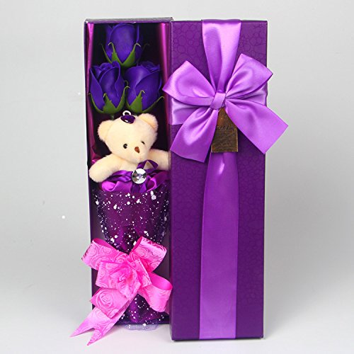 Abbie Home Flower Bouquet 3 Scented Soap Roses Gift Box With Cute Teddy Bear Birthday Mother's Day Valentine's Present-Purple