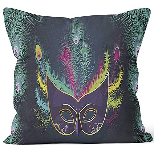 Mardi Gras Venetian Mask Ornaments 2 Home Decorative Throw Pillow Cover,HD Printing Square Pillow case,18