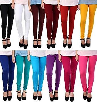 b308eaf0102b5e Anekaant Cotton Lycra Women's Churidar Legging Pack of 12 (Black, White,  Maroon,