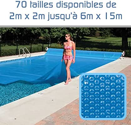 Linxor ® Custom-made Swimming pool solar cover, bubble tarpaulin, 300  microns / 70 sizes available / Standard CE