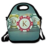 Poker Chips Playing Cards Insulated Lunch Bag For Women Girls Men Kids Teens Boys Adults