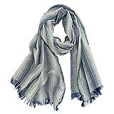 GERINLY Cotton-Linen Scarves Mens Stripe Crinkle Long Scarf (Navy Blue)