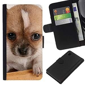 EJOY---La carpeta del tirón la caja de cuero de alta calidad de la PU Caso protector / Sony Xperia Z1 L39 / --Pequeños Ojos Mutt perro de cachorro